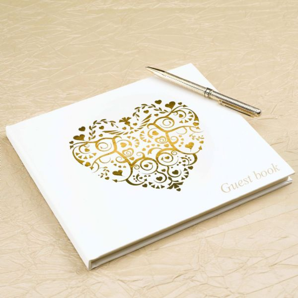 Vintage Romance Ivory & Gold Guest Book